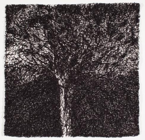 Cristiane Mohallem; Sem título; 2015; Serie: Noite; linha de algodão em tecido de algodão; 41x41cm