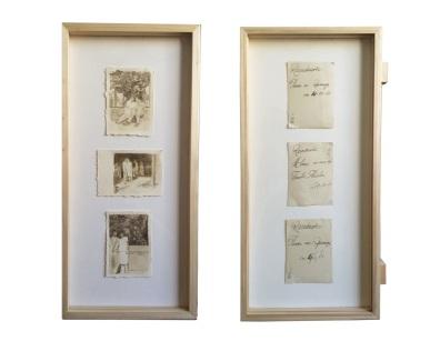 Miriam Bratfisch Santiago, Walter Quer Casar, 2016. Aquarela sobre papel, fotografia. 40 x 19 cm