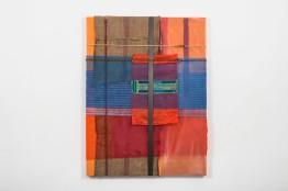 Mano Penalva, Sem título, 2016, Série: Origem, saco de ráfia, elástico, lona, plástico e algodão, 160 x 120 cm