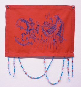 """Wagner Pinto . """"Janela"""", 2009 . 30 x 20 cm . serigrafia sobre tecido e aplicação de contas"""