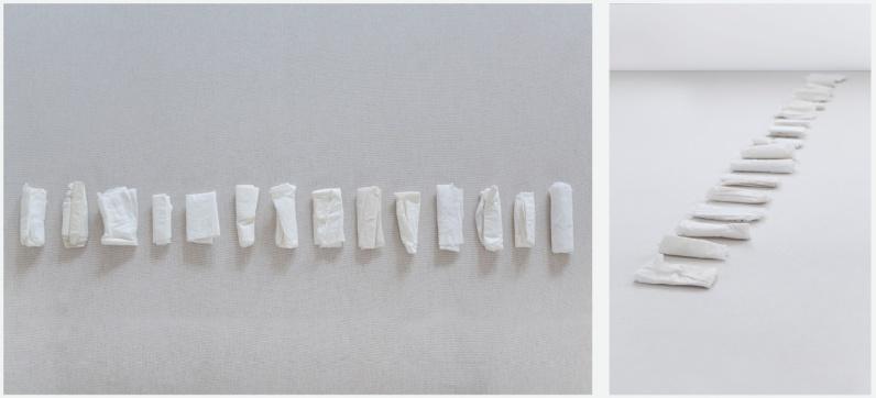 Simone Moraes Sem título, 2012-2013. 24 lenços usados, dimensões variáveis