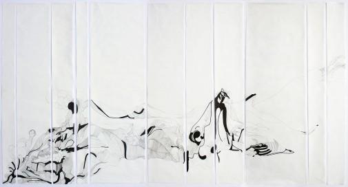 Anna Paes, Movimentos Naturais A, 2016, Serie Movimentos Naturais, nanquim sobre papel japonês, 96X210cm
