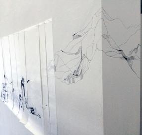 Anna Paes, Instalação Movimentos Naturais B, 2016, Serie Movimentos Naturais, nanquim sobre papel japonês, 96X370cm