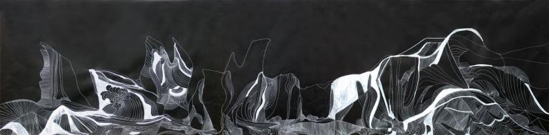 Anna Paes, Movimentos Naturais C, 2016, Serie Movimentos Naturais, nanquim sobre papel japonês, 63,5X236cm