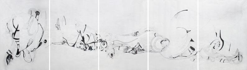 Anna Paes, Movimentos Naturais D, 2017, Serie Movimentos Naturais, nanquim sobre papel japonês, 98X326cm