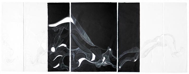 Anna Paes, Noite e Dia E, 2017, Serie Movimentos Naturais, nanquim sobre papel japonês, 98X265cm