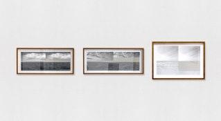 Marcelo Barros. Aparente II, 2015. Série: Horizontes. Massa cimentícia sobre fotografias impressas. 30 X 84 cm | 30 X 84 cm | 42 X 60 cm