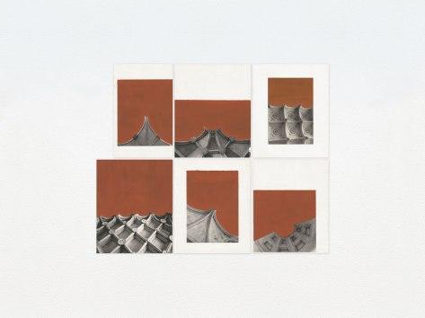 Marcelo Barros. Perpétuos, 2015. Série: Monumentos. Guache sobre página impressa de livro. 46 X 55,5 cm. Políptico
