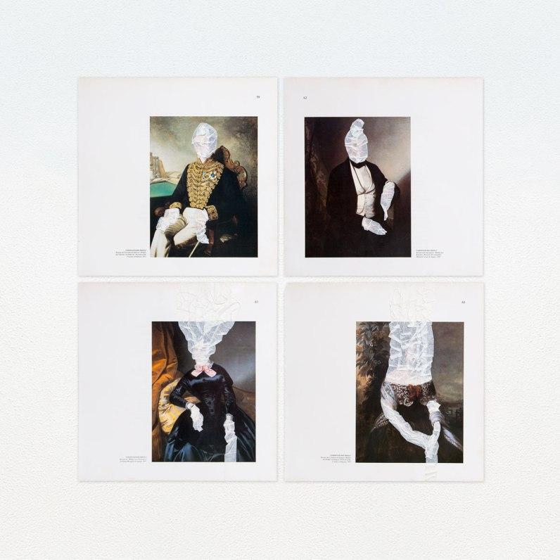Marcelo Barros. Retratos II, 2015. Série: Velaturas. Fita-crepe sobre páginas impressas de livros. 30 X 30cm cada. Políptico