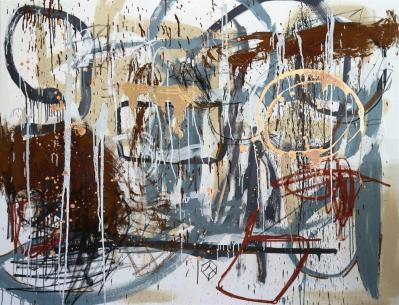 Gabriel Nehemy, Cinza I, 2016, óleo e acrílica sobre tela, 140 x 180cm