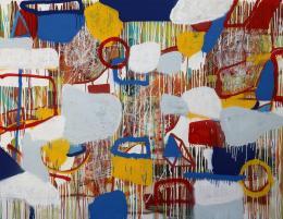 Gabriel Nehemy, Sem título, 2016, óleo, acrílica, pastel oleoso, grafite e spray sobre tela, 140 x 180cm