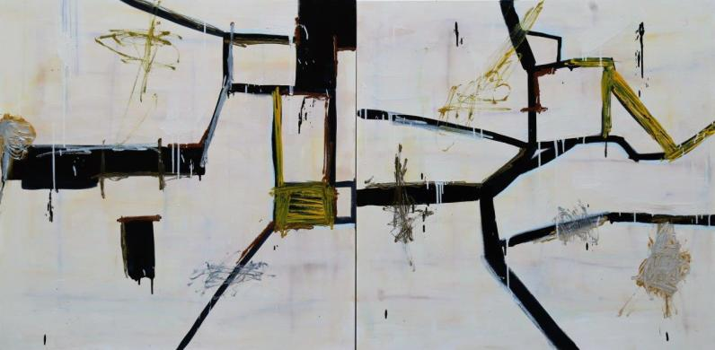 Gabriel Nehemy, Sem título, 2016 óleo sobre tela, 110 x 220 cm