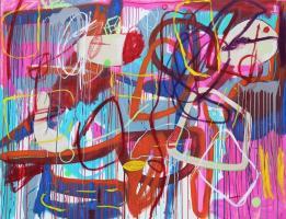 Gabriel Nehemy, Rosa I, 2016, óleo e acrílica sobre tela, 140 x 180cm
