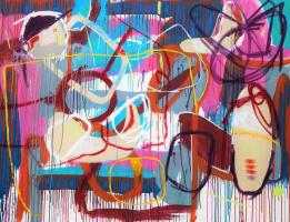 Gabriel Nehemy, Rosa II, 2016, óleo e acrílica sobre tela, 140 x 180cm