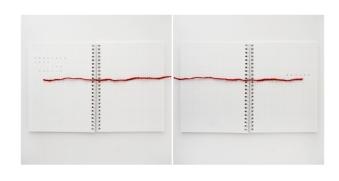 Lipcia, Amartelo, 2016. Série: Cuaderno. Caderno escrito, lã vermelha . 67,42 x 36,21cm