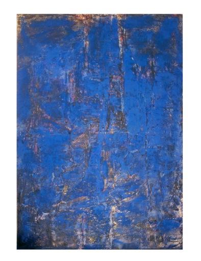 Paulo Lobo, Azul n.1, 2016, série Azul, tinta acrílica, tinta óleo, piche e pigmento azul sobre tela. 240x180x5cm