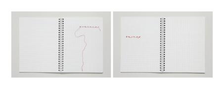 Lipcia, Amartelo, 2016. Série: Hilo. Caderno bordado, fio vermelho. 67,42 x 27,03 cm