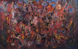 Paulo Lobo, Antígona, 2016, Serie Antígona, óleo sobre lona de algodão, 210x360cm
