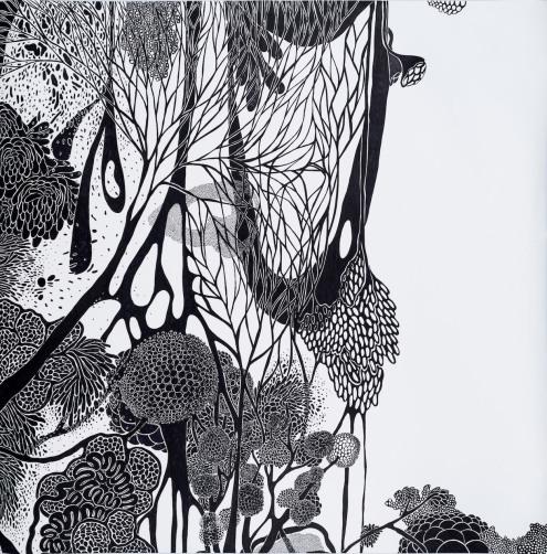 Maria Luiza Mazzetto . Sem título, da série É a vida . 2016 . marcadores sobre papel . 150 x 150 cm . foto: Vinícius Postiglioni