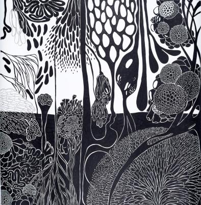 Maria Luiza Mazzetto . Sem título, da série É a vida, 2016 . marcadores sobre papel . 150 x 150 cm . foto: Vinícius Postiglioni