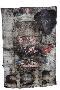Paulo Lobo, Fuga n.1, série Piches, óleo e piche sobre lona de algodão, 220x160cm