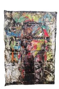 Paulo Lobo, Fuga n.2, série Piches, óleo e piche sobre lona de algodão, 220x160cm