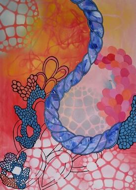 Vanessa Milred, Sem título, 2017. Acrílica, spray e outros sobre papel, 59.4 x 42 cm