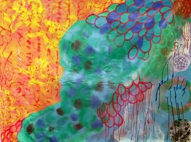 Vanessa Milred, Sem título, 2016. Acrílica, spray e outros sobre tela, 161 x 204 cm
