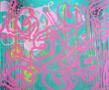 Vanessa Milred, sem título, 2016. Acrílica, spray e outros sobre tela, 99.5 x 120 cm