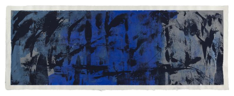 Michelle Rosset, sem título, 2017. Acrílico sobre papel Japonês. 37.5 x 98.5 cm.