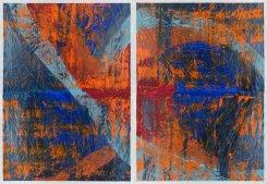 Michelle Rosset, sem título, 2017. Acrílico sobre papel Japonês. 70 x 100 cm cada. (Políptico de 4)