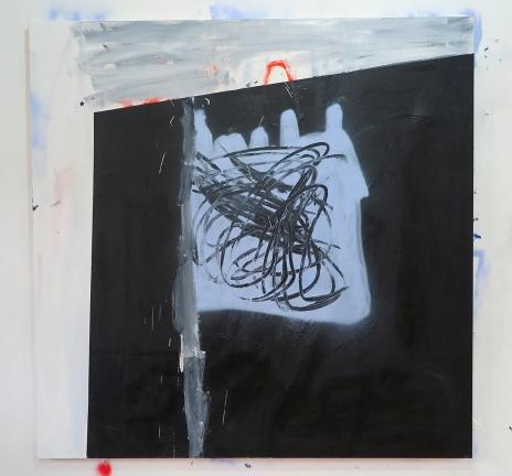Antonio Bokel . Amilcar descalço, 2017. tinta acrílica, tinta spray e bastão oleoso sobre tela. 100 x 80 cm