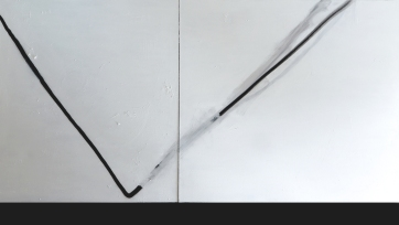 Antonio Bokel . Risco , 2017. tinta acrílica e tinta spray sobre tela . 150 x 270 cm