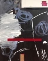 Antonio Bokel . Atemp, 2017 . tinta acrílica, tinta spray e bastão oleoso sobre madeira . Quatro peças. 100 x 80 cm (cada).