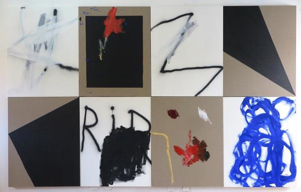 Antonio Bokel . RIR, 2017. tinta acrílica, tinta a óleo, tinta spray, bastão oleoso sobre linho e algodão. Oito peças. 100 x 80 cm (cada)