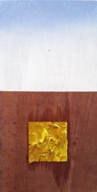 Antonio Bokel . Pequenos olhos 2, 2017. tinta acrílica e tinta a óleo sobre madeira. De seis a doze peças (série não terminada). 30 x 15 cm (cada)