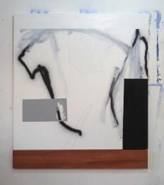 Antonio Bokel . Pixo concreto madeira, 2017. tinta acrílica e tinta spray sobre algodão e madeira. 150 x 150 cm (pintura) e 20 x 150 cm (madeira)