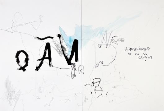 """Ana Takenaka, """"A implicação de um NÃO"""", 2013. Grafite, nanquim, caneta hidrográfica e aquarela sobre papel Canson 120g. 45 x 65 cm"""