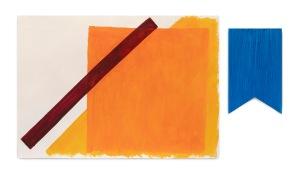 Milton Blaser . Azul e Laranja em Planos 2017 Acrílica sobre Papel e Colagem 70 x 120 cm