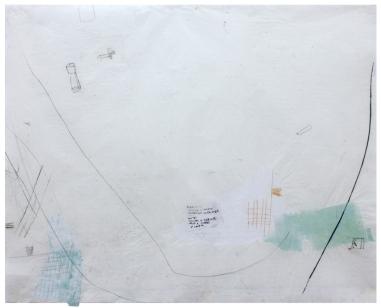 """Ana Takenaka,""""Deriva #1"""", 2016. Série: Deriva. Ponta- seca, chiné-collé e fita autoadesiva sobre matrizes de polipropileno e acetato. Impressão sobre papel japonês. 97 x 120 cm"""