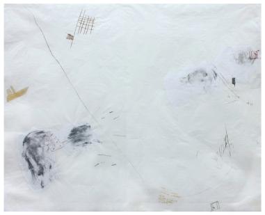 """Ana Takenaka, """"Deriva #2"""", 2016. Série: Deriva. Ponta-seca, chiné-collé e fita autoadesiva sobre matrizes de polipropileno e acetato. Impressão sobre papel japonês. 97 x 120 cm"""