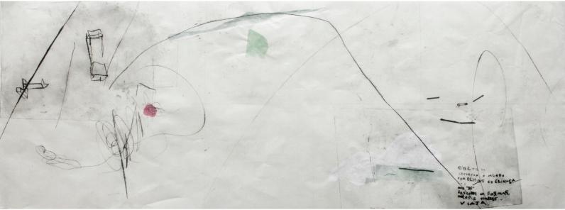 """Ana Takenaka, """"Objetivo x subjetivo,1"""", 2015. Ponta seca e chiné-collé sobre matriz de polipropileno. Impressão sobre papel japonês. 47 x 96 cm"""