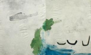 """Ana Takenaka, """"Sem título"""" #1, 2015. Ácido-direto e monotipia sobre matriz de alumínio. Impressão em quatro cores sobre papel Canson 300g. 100 x 160 cm"""