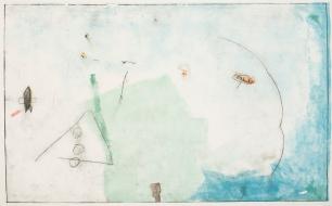 """Ana Takenaka, """"Caminos #3"""", 2014. Série: Caminos. Ponta seca e monotipia sobre matriz de polipropileno. Impressão em quatro cores sobre papel Canson 300g. 100 x 150 cm"""