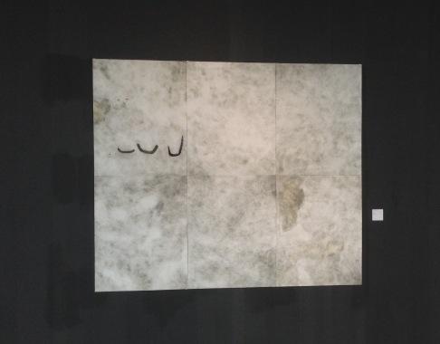 """Ana Takenaka, """"Infinitude #2"""", 2015. Série: Infinitude. Monotipia e ácido-direto sobre matriz de alumínio. Impressão em duas cores sobre papel Hahnemühle. 6 partes de 100X 80 cm tamanho total: 200 x 240 cm. Biennal of Liège (2017)."""