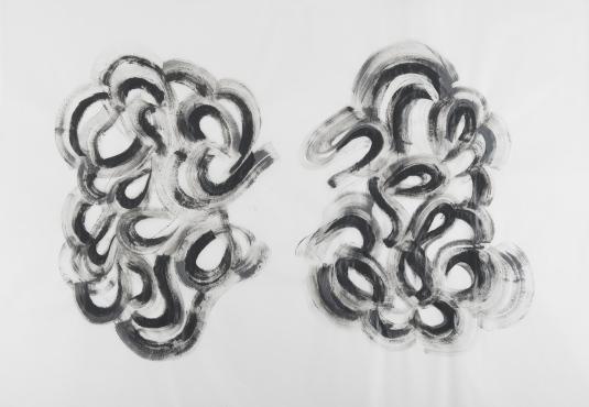 Márcia Morelli, Simbiose, 2017. acrílica sobre papel manteiga. 70 x 100 cm