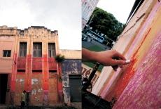 Júnior Pimenta Maquilagem de fronte, 2010 Intervenção urbana, com a pintura parcial de uma fachada com mil batons de três tonalidades.