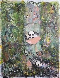 Simone Fontana Reis . Eu sei que elas estiveram aqui II, 2016 . acrílica e óleo sobre tela . 210 X 160 cm