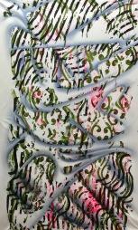 Simone Fontana Reis . Lençóis Kadiueus, 2017 . acrílica e óleo sobre tela . 139 X 87 cm