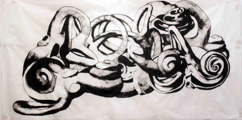 CatarinaSabino: Catarina Sabino, Sem Título, 2017. Série: Labirintites. Acrílica sobre papel japonês, 100x200cm